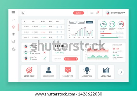 Dashboard admin panel vector design template with infographic elements, chart, diagram, info graphics. Website dashboard for ui and ux design web page. Vector illustration. stock photo