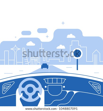 Dashboard car and driver.Hands driving a car on the highway. Drive safely warning billboard.Flat vector illustration. Car on asphalt road with speed limit on highway car interior.