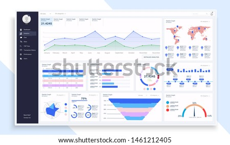 Dashboard, great design for any site purposes. Business infographic template. Vector flat illustration. Big data concept Dashboard user admin panel template design. Analytics admin dashboard. UI/UX