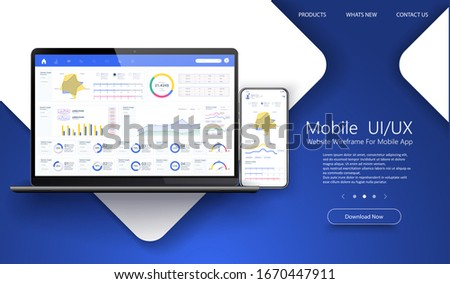 Dashboard, great design for any site purposes. Business infographic template. Vector flat illustration. Big data concept Dashboard user admin panel template design. Analytics admin dashboard.App UI/UX