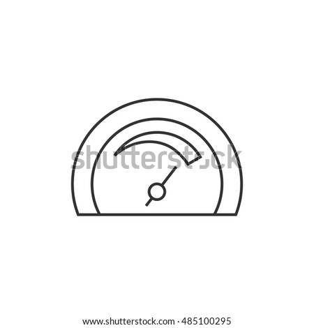 Dashboard icon in thin outline style. Control panel, odometer, speedometer