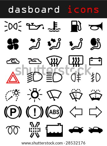 Stock Vector Dashboard Icons on car warning lights