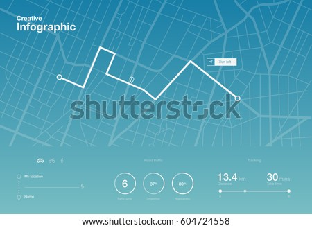 Dashboard theme creative infographic of city map navigation #604724558
