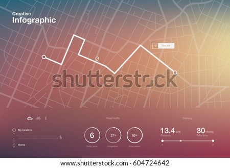 Dashboard theme creative infographic of city map navigation #604724642