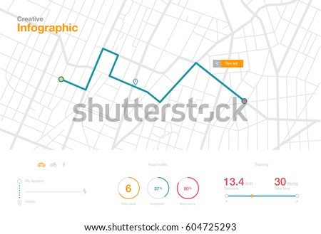 Dashboard theme creative infographic of city map navigation #604725293