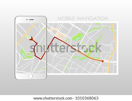 Dashboard theme creative infographic of city map navigation on phone. Vector illustration.