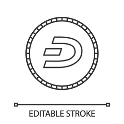 Dashcoin linear icon. Dash. Thin line illustration. Cryptocurrency. Mining. Contour symbol. Vector isolated outline drawing. Editable stroke