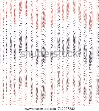 Dashed Chevron Mountain Peaks - Simple Abstract Seamless Repeat - Contemporary Background Tile - White Background with Warm Colour Palette - Pink, Red, Purple and Burgundy Tones