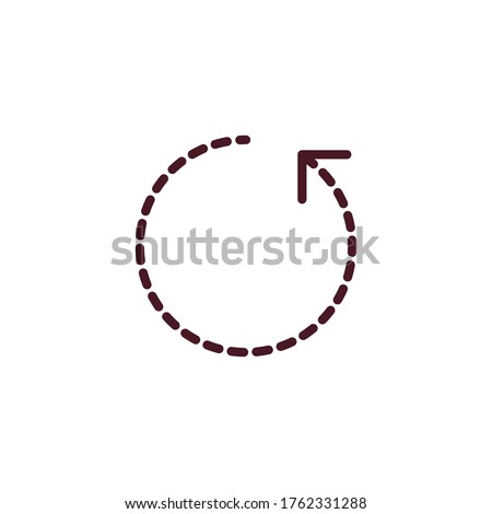 Dashed rotation circle arrow, Angle 360 degrees sign icon. Geometry math symbol. Full rotation. Stock vector illustration isolated on white background.