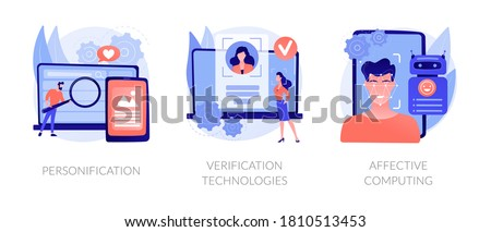 Data access and user experience abstract concept vector illustration set. Personification, verification technologies, affective computing, user password, social media account abstract metaphor.