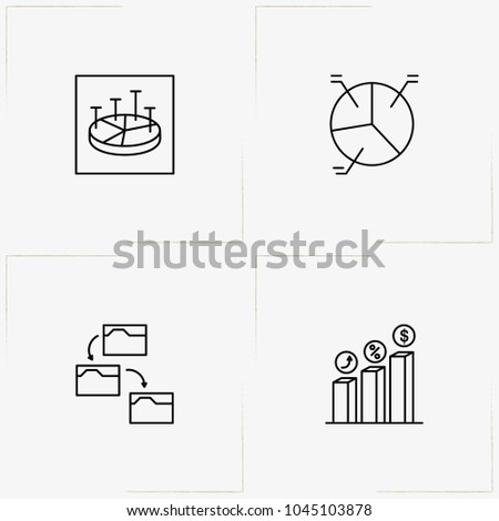 Data Analitic line icon set with data sending, percentage graph and percentage growth
