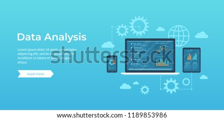 Data analysis. Analytics, statistics, audit,  research, report. Web online and mobile service. Financial reports, charts graphs on screens of laptop, phone, tablet. Business background banner. Vector