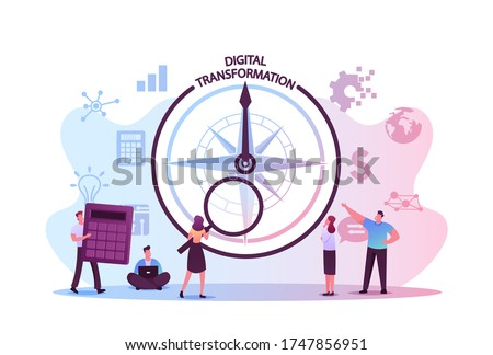 Data Analysis and Digitization Concept, Digital Transformation or Disruption, Financial Statistics, Big Data or Performance Measuring. Tiny Characters and Compass. Cartoon People Vector Illustration