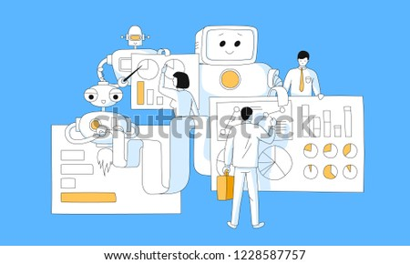 Data analysis, Business Analysis, Data Visualization vector  illustration with team making market research for web.