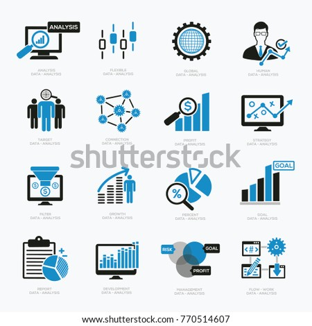 Data analysis,Business management and Big data icon set,vector