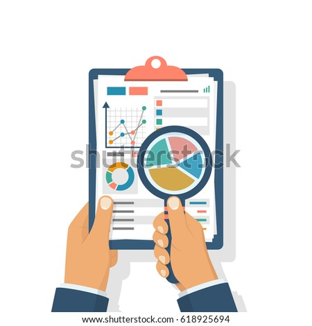 Data analysis. Clipboard in hand businessman, statistical data with charts, diagrams. Workplace documents for financial statistics, reporting, strategy development. Vector illustration flat design.