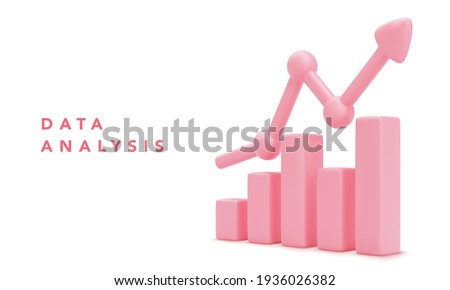 Data analysis concept banner. Growing bars graphic with rising arrow. Vector illustration