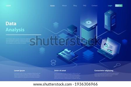 Data analysis concept. Data Analysis for website, mobile website. Big data flow processing concept, cloud database, web hosting, server room. Cloud storage, digital service app with data transfering