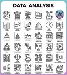 Data Analysis concept detailed line icons set in modern line icon style concept for ui, ux, web, app design