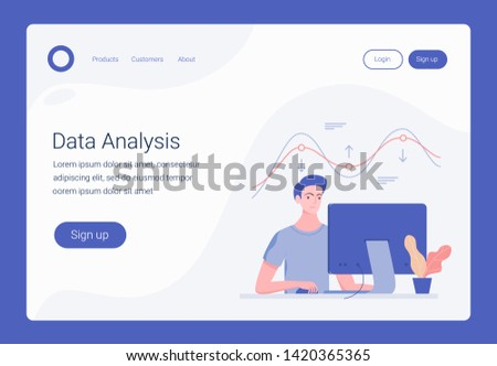 Data analysis concept. Landing page template. Young man working and analyzing financial statistics. Business technology. Analysis concept for web, infographics. Trendy flat style. Vector illustration.