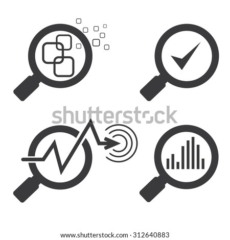 data analysis concept, magnifier glass and chart graph icons