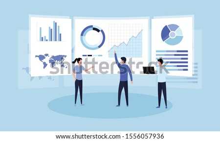Data analysis concept. Teamwork of business analysts on holographic charts and diagrams of sales management statistics and operational reports, key performance indicators. Flat vector illustration