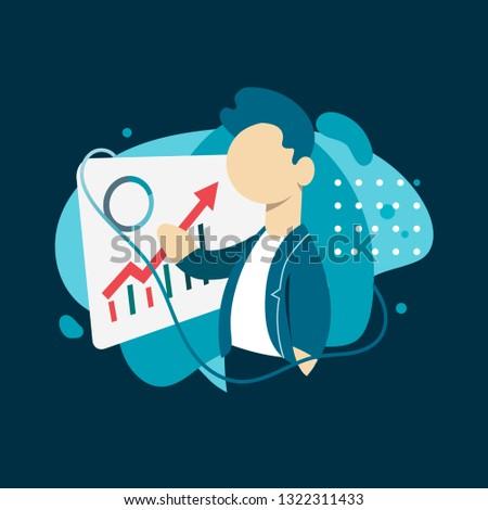 Data Analysis Design Concept. Person Analyzing Financial Data. Vector Illustration. Flat Style.  Dark Background