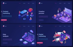 Data analysis, digital marketing technology 3d vector illustrations. Cartoon isometric modern blue creative design set, concept banners with seo creative process of content digital marketing services