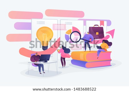 Data analysis education, economic literacy internet courses. Business workflow, business process efficiency, working activity pattern concept. Vector isolated concept creative illustration