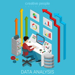 Data analysis flat 3d isometry isometric marketing business technology concept web vector illustration. Casual man working with server computer management interface button remote controller and arrows