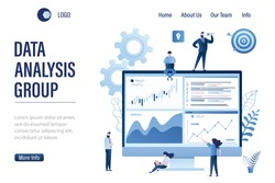 Data analysis group landing page template. Team of statistical analysts or businesspeople analyzing statistical information. Business data analysis process, statistics.Trendy style vector illustration