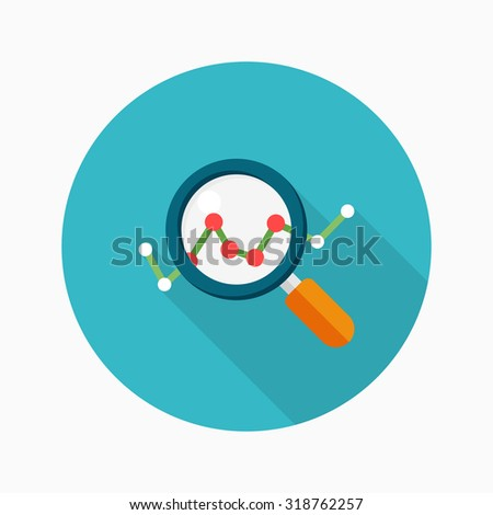 Data analysis icon, vector illustration. Flat design style with long shadow,eps10