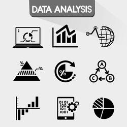 data analysis icons, data chart icons set, graph