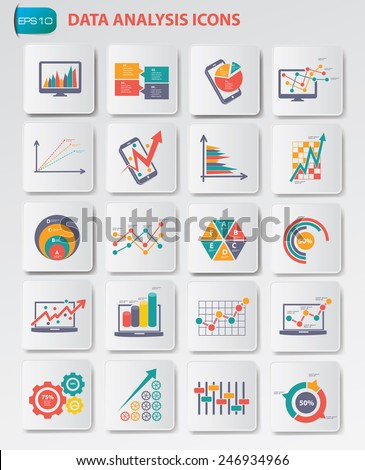 Data analysis icons on buttons,clean vector