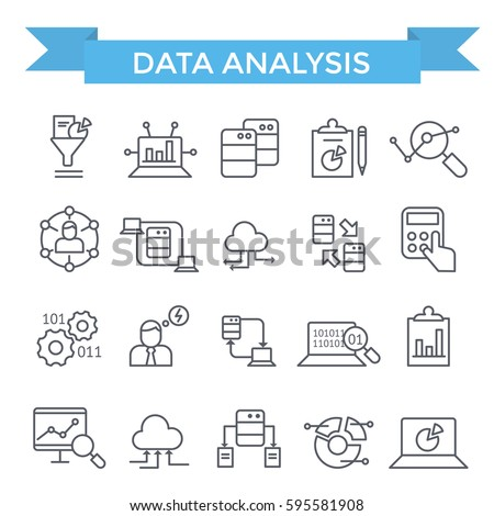 Data analysis icons, thin line, flat design