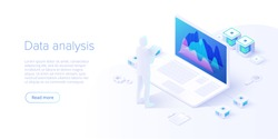 Data analysis in isometric vector design. Technician in datacenter or data center room background. Network mainframe infrastructure website layout. Computer storage or farming workstation.