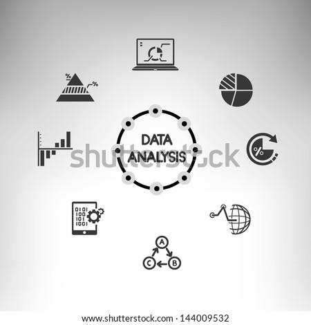 data analysis info graphic, information management icons set
