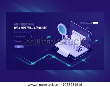 Data analysis, infromation searchning, data center query, search engine optimization, concept site position result, laptop with paper bill magnifying glass isometric vector ultraviolet