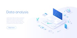 Data analysis isometric vector illustration. Abstract 3d datacenter or data center room background. Network mainframe infrastructure website header layout. Computer storage or farming workstation.