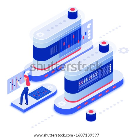 Data analysis isometric vector illustration. Server administration. Database maintenance. Mechanical attendance. Mechanical hardware. Computing technology. Datacenter cartoon conceptual design element