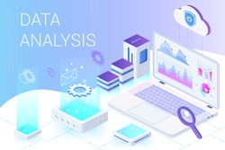Data analysis isometric web banner vector template. Web analytics and marketing metrics service. Big data, Iot 3d concept. Business and financial research. Database, data storage. Statistics analyzing