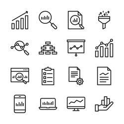 Data analysis line icons set vector illustration