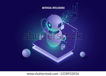 Data analysis, machine education, ai artificial intelligence learning, data processing algorithm, automation industry, 3d vector