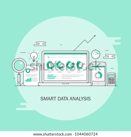 Data analysis, research, business data on computer screen, graph and chart flat line vector illustration