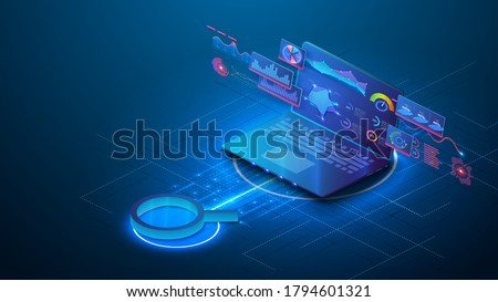 Data analysis, SEO vector isometric background. Optimization process of internet search results for online visibility of website. Magnifier and open laptop with charts and graphs on the screen. Banner Foto stock ©
