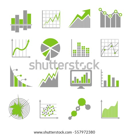 Data analysis signs and financial business analytics vector icons. Market diagram finance, infochart and infographic illustration