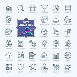 Data analysis, statistics, analytics  - minimal thin line web icon set. Outline icons collection. Simple vector illustration