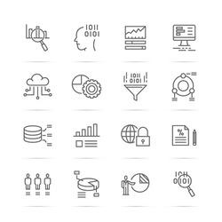 data analysis vector line icons, minimal pictogram design, editable stroke for any resolution