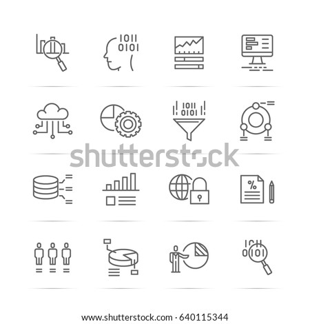data analysis vector line icons, minimal pictogram design, editable stroke for any resolution
