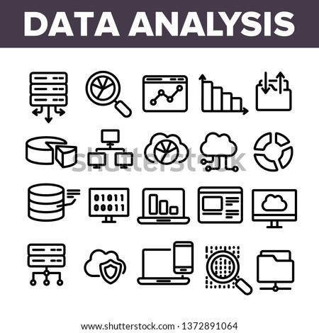 Data Analysis, Web Storage Linear Vector Icons Set. Data Science Thin Line Contour Symbols. Server, Database, Cloud Computing. Diagrams, Statistics, Schemes. Information Analytics Outline